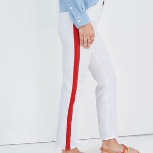 NWT Madewell White and Red Stripe Tuxedo Jeans